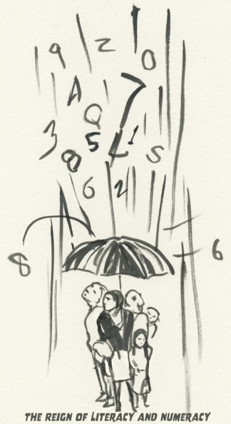 Ink drawing of a small group gathered under an umbrella sheltering them from a downpour of numbers and letters.